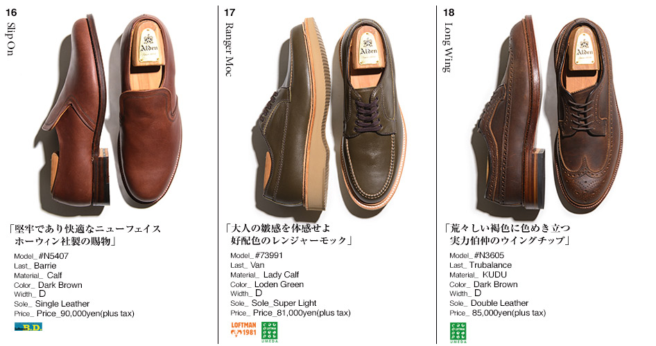 16.Slip On/17.Ranger Moc/18.Long Wing