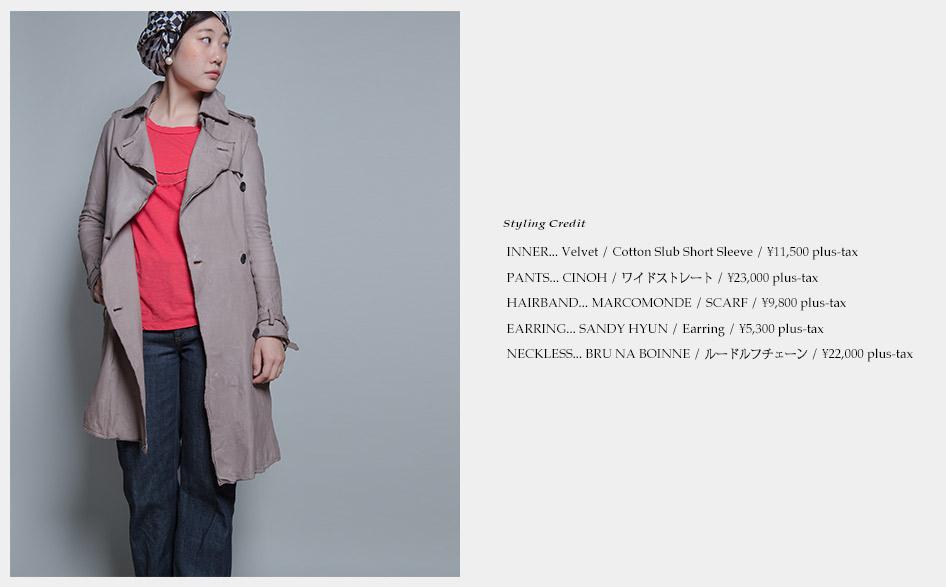 Velvet-Cotton Slub Short Sleeve/CINOH-ワイドストレート/MARCOMONDE-SCARF/SANDY HYUN-Earring /BRU NA BOINNE-ルードルフチェーン