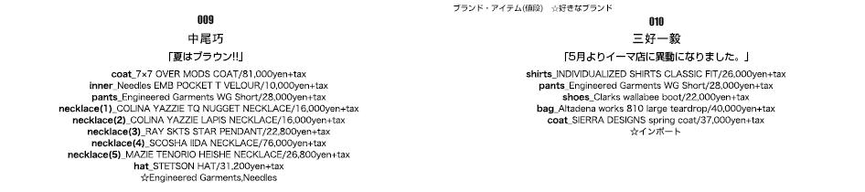 009/中尾巧/「夏はブラウン!!」010/三好一毅/「5月よりイーマ店に異動になりました。