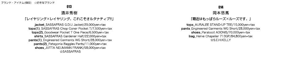 013/酒井秀樹/「レイヤリング×レイヤリング。これこそオルタナティブ!!」014/岡本悠馬/「最近はもっぱらルーズ×ルーズです。」